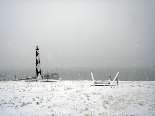 Makeshift Lighthouse in Snow Bogue Sound in Background