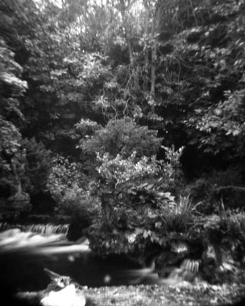 Pin Hole Photograph of Small Waterfall at Japanese Gardens, Ireland
