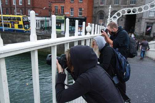 Jen, Stacy and Ross shooing some photos from the Half Penny Bridge