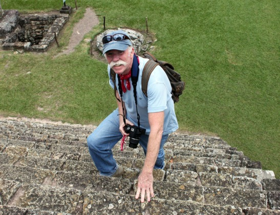 Climbing to the top of a Mayan Temple in Copan Honduras