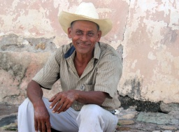 Local Man with Cowboy Hat taking a break in Copan, Honduras