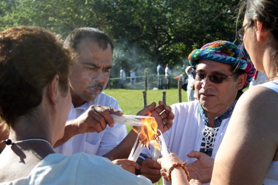 Lighting of Candles @ Mayan Ceremony in San Andres Mayan Site