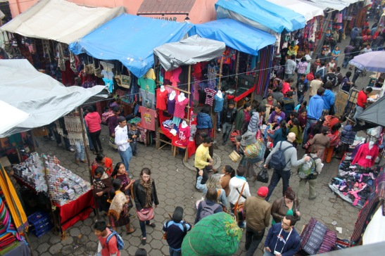 View from balcony of the Sunday Market in Chichicastenango, Guatemala.