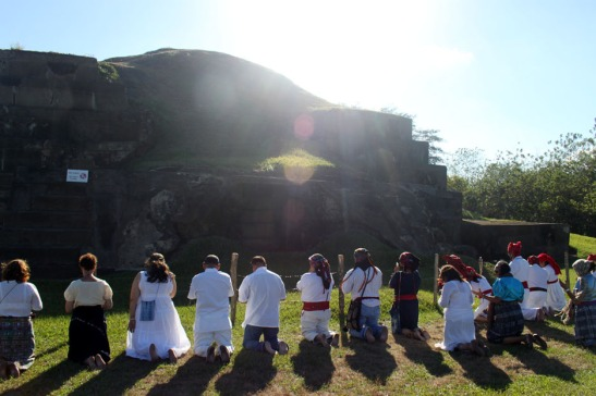 Mayan Priests Pray during Mayan Ceremony @ San Andres