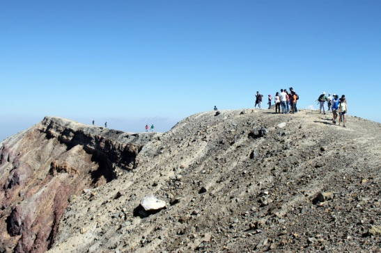 Hikers at the summit of the Volcano