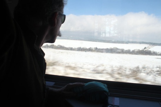 Enjoying the countryside on Euro Rail Train heading to Bratislava.
