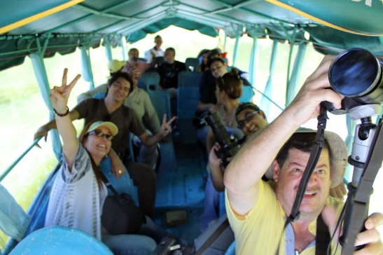 Photographers on the Boat coming back from a Hike