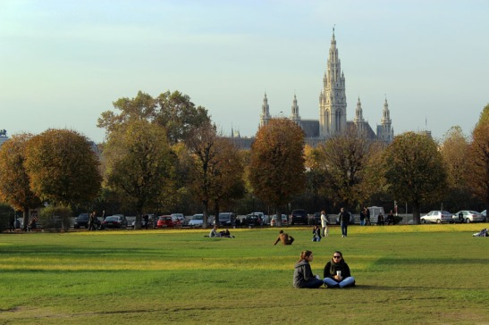 Vienna Park with Gothic Cathedral in Distance