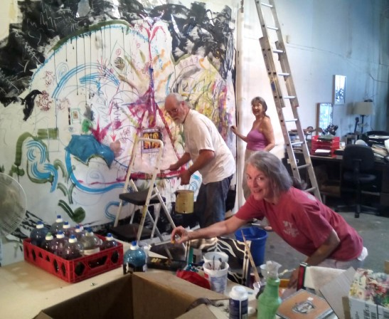 Henry Stindt, Trish Hayes and Sue Luddeke working on our collaborative painting